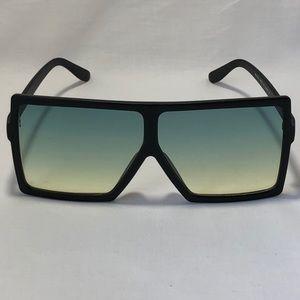 Other - Black/Green Oversize Square Lens Sunglasses